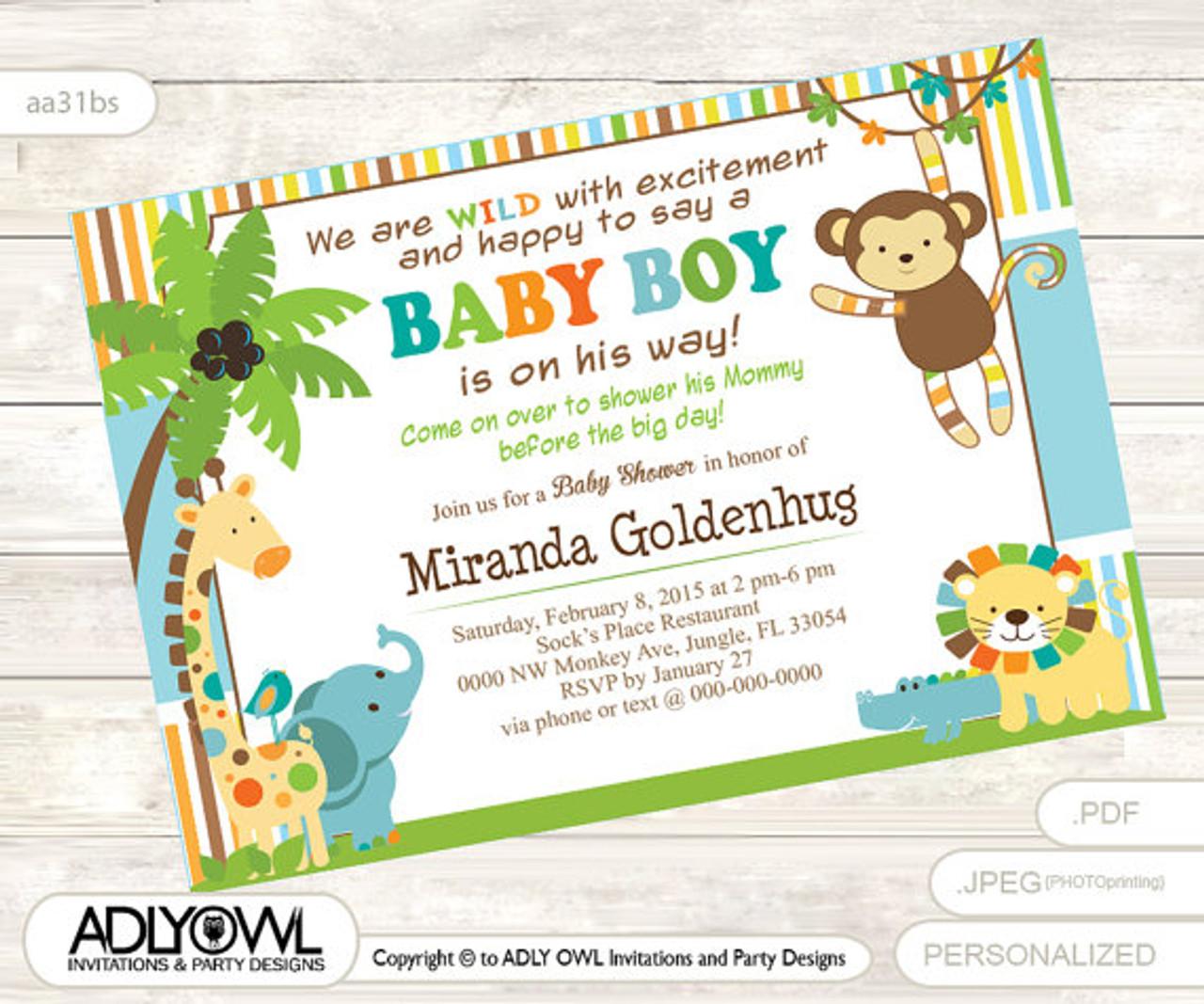 jungle baby shower invitation for boy colorful jungle invitation