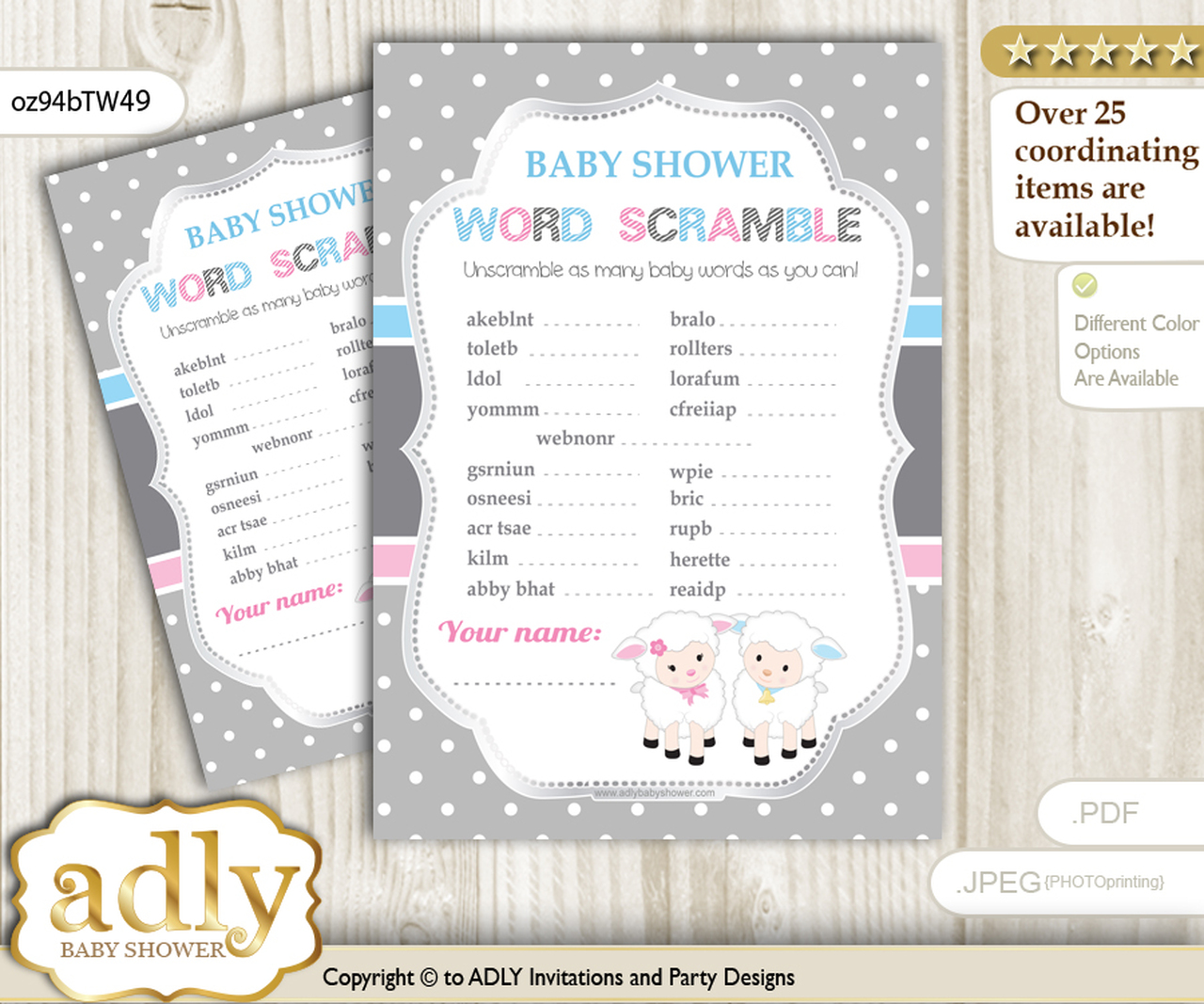 Twins Lamb Word Scramble Game For Baby Shower Adly Invitations And