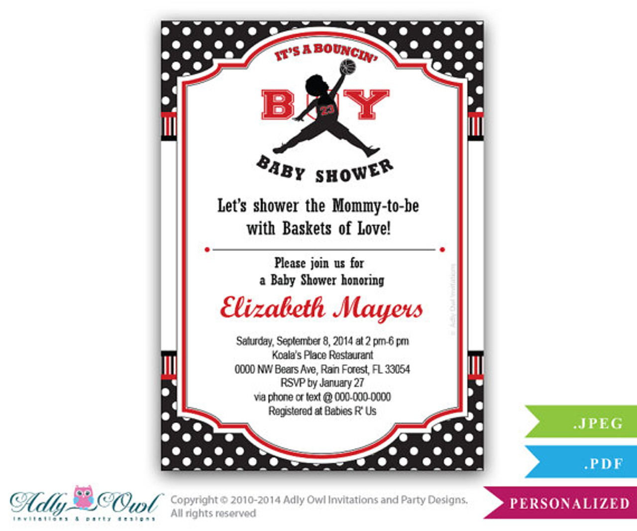 222f18ea181 Bouncin' Boy Baby Shower Invitation,Air Jordan inspired baby shower in  black, red, polka dots - ADLY Invitations and Digital Party Designs