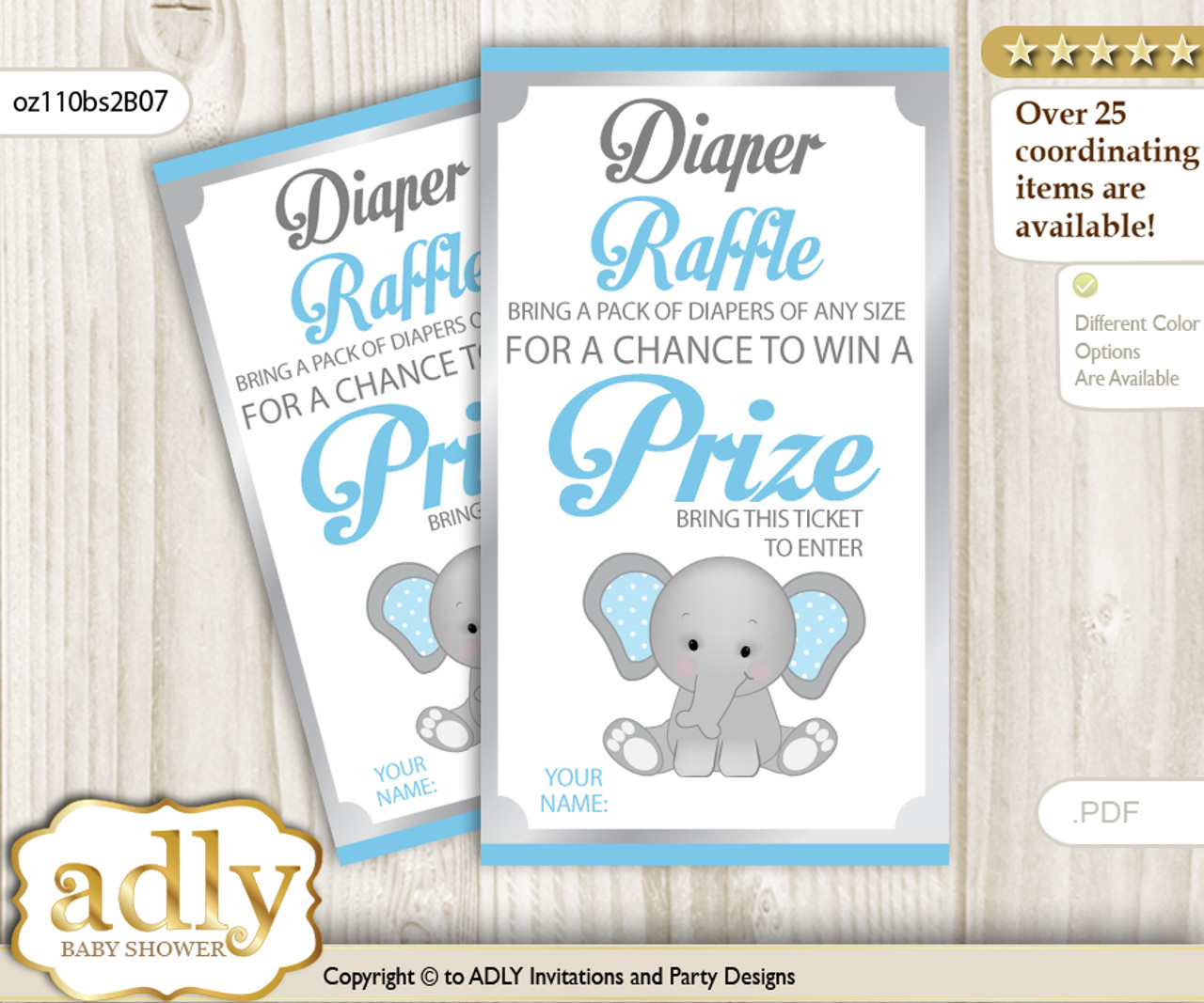 photograph relating to Printable Diaper Raffle Tickets identified as Boy Elephant Diaper Raffle Printable Tickets for Child Shower, Gray Blue, Polka