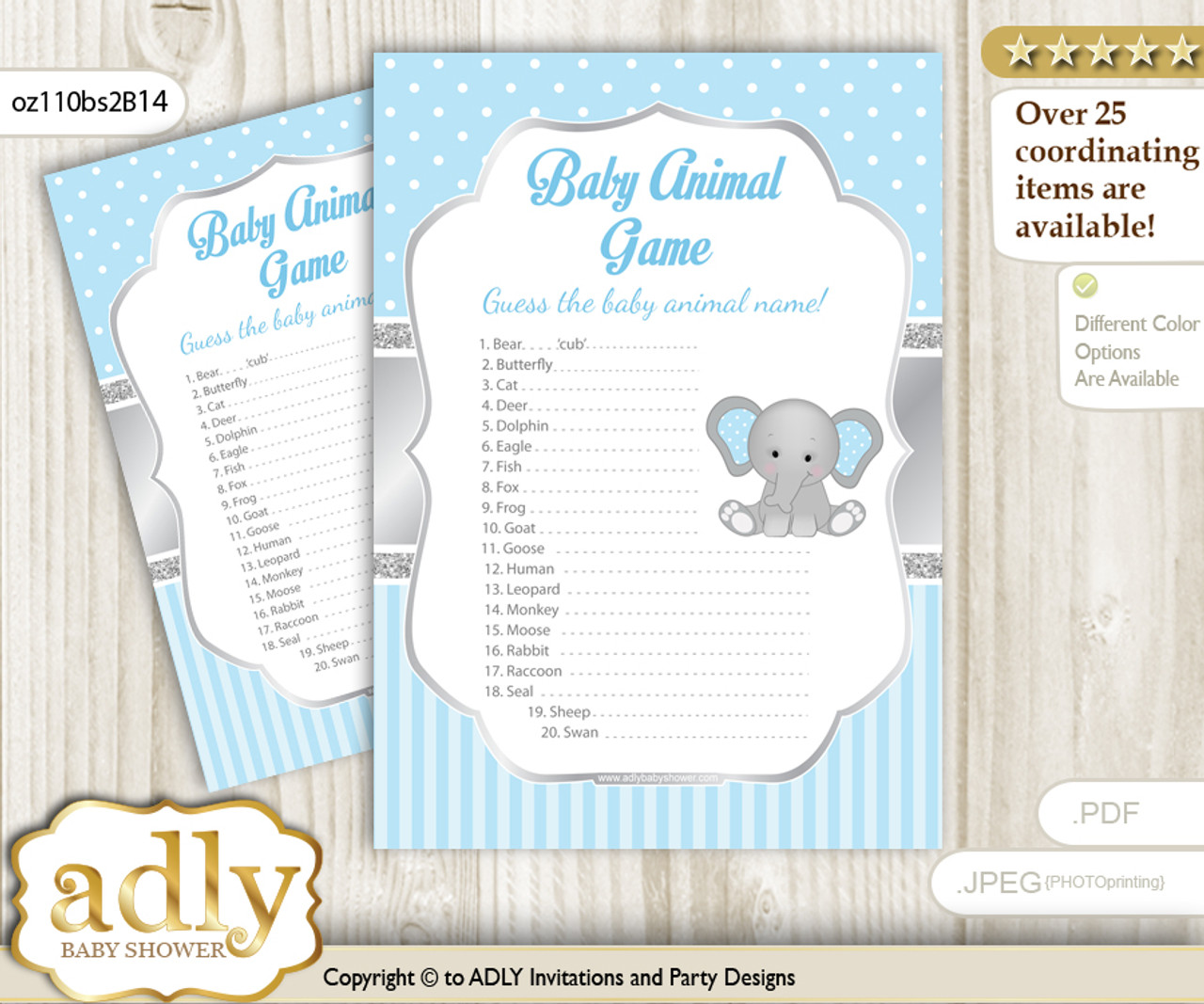 Printable Boy Elephant Baby Animal Game Guess Names Of Baby Animals