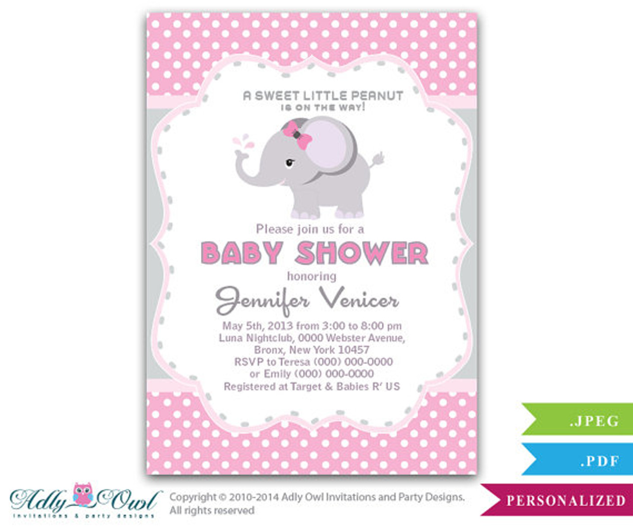 5x7 Pink Elephant with Gray Polka Dots Baby Shower Invitation  New Baby Girl Baby Shower Invite  DIY Printable Baby Shower Invite