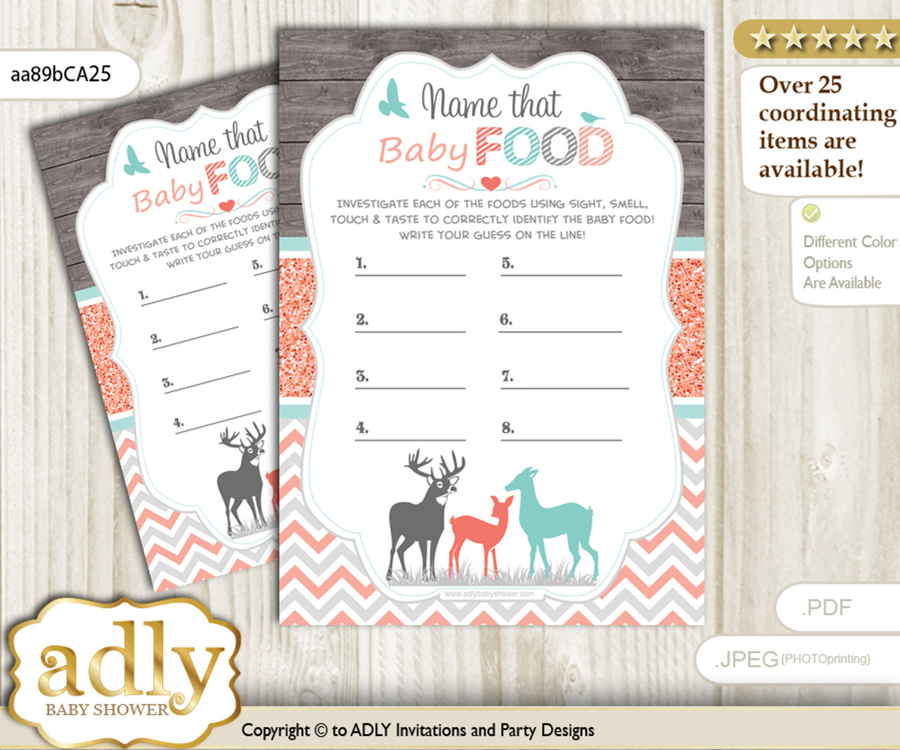 graphic relating to Baby Food Game Printable identified as Woman Deer Bet Little one Foods Sport or Status That Child Food items Match for a Youngster Shower, Coral Aqua Forest