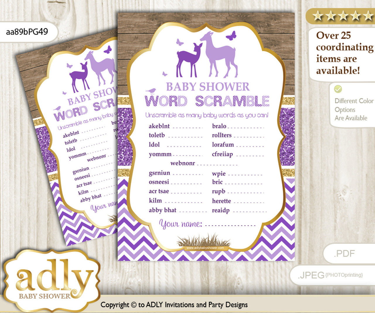 Girl Deer Word Scramble Game For Baby Shower N Adly Invitations
