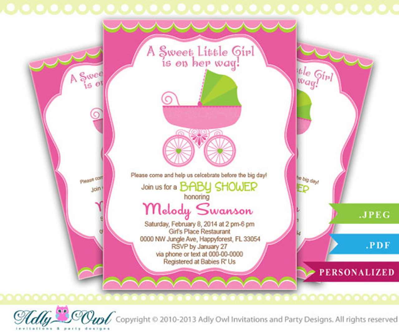 picture about Printable Girl Baby Shower Invitations identified as Lady Carriage Kid Shower Invitation, Printable Lady Carriage Little one Shower Card for a kid shower. Apple eco-friendly, red, do-it-yourself, printable-