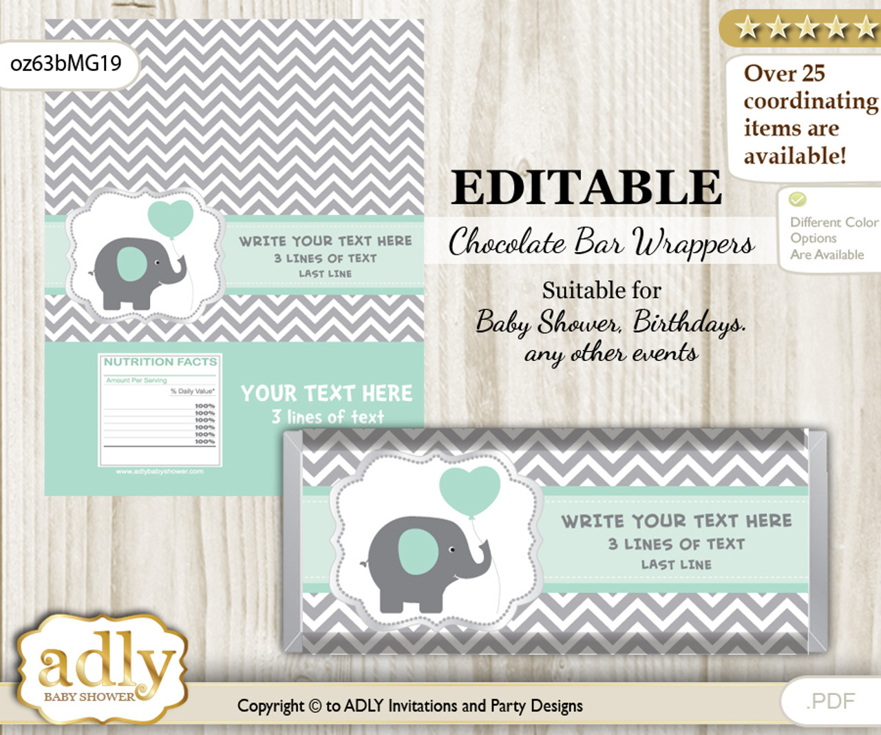 Personalizable Boy Elephant Chocolate Bar Candy Wrapper Label For