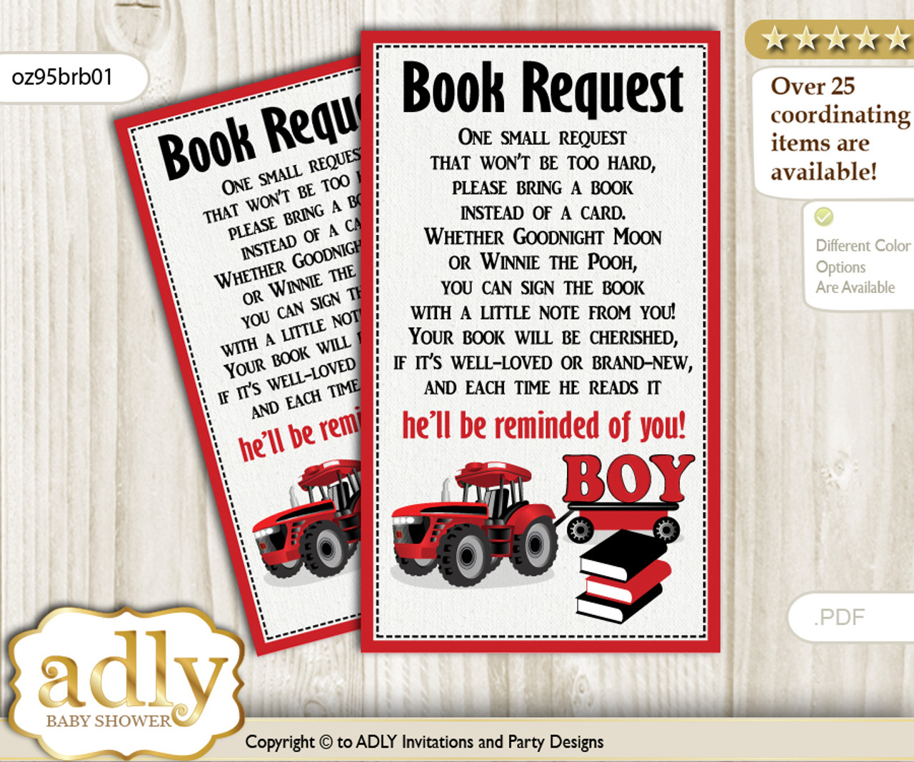 Request a Book Instead of a Card for Boy Tractor Baby Shower or Birthday,  Printable Book DIY Tickets, Farmer, Red Black n