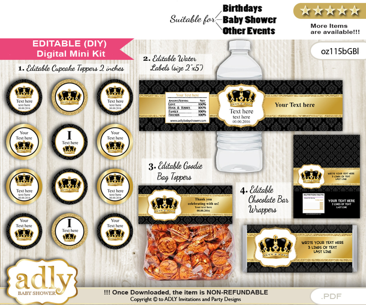 Text Editable Royal King Baby Shower Birthday Diy Digital Package