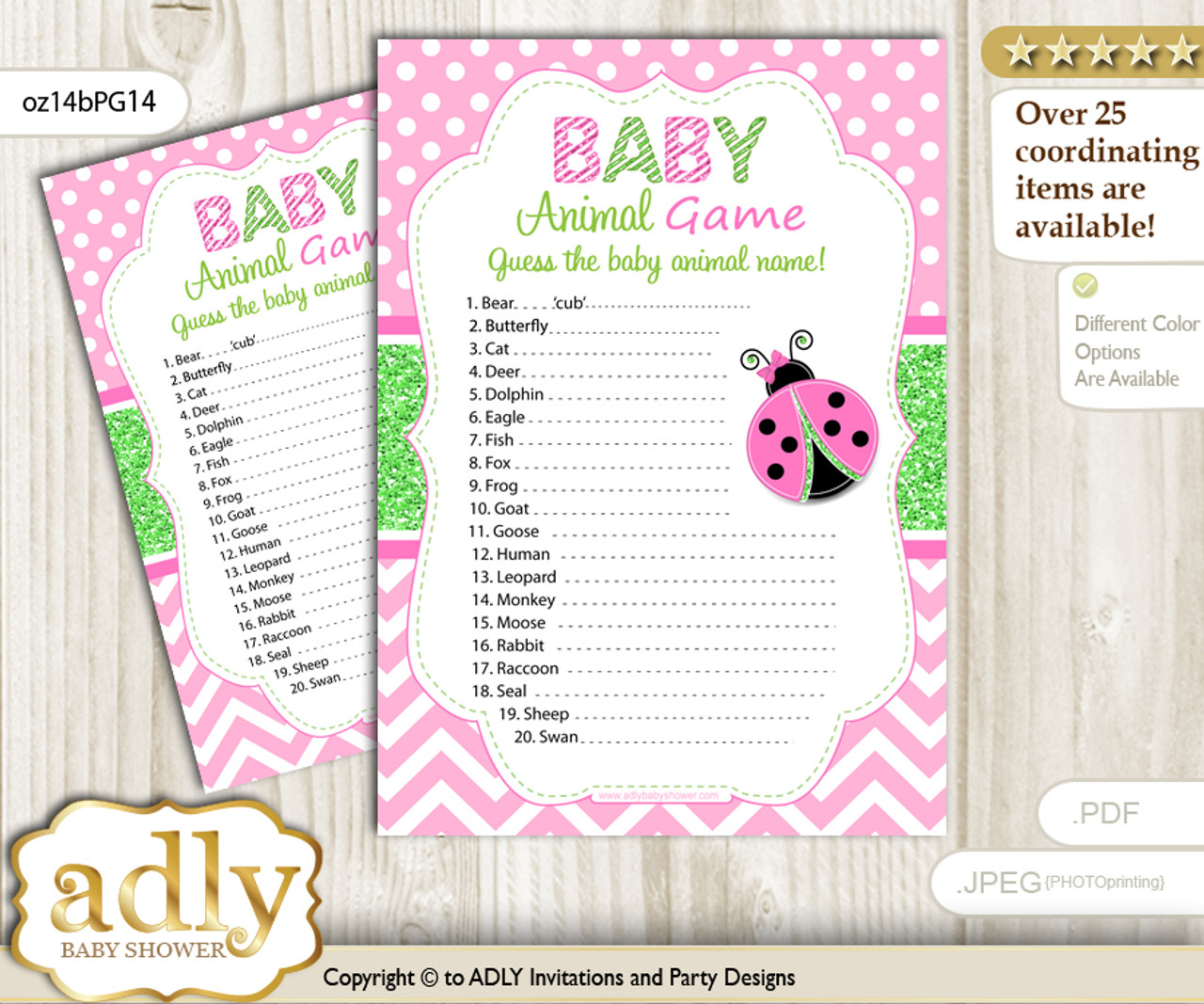 graphic relating to Baby Printable referred to as Printable Lovely Ladybug Kid Animal Recreation, Bet Names of Kid Pets Printable for Child Ladybug Shower, Crimson Environmentally friendly, Polka