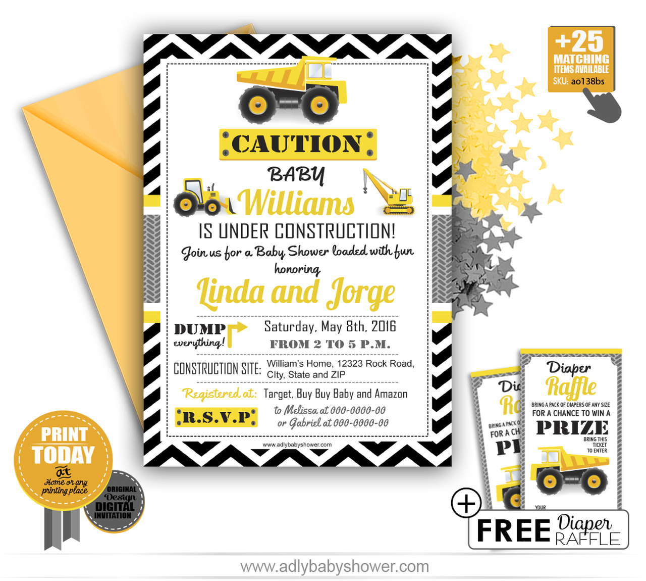 Construction Truck Boy Baby Shower Invitation Template Free Diaper Raffle Instant Download
