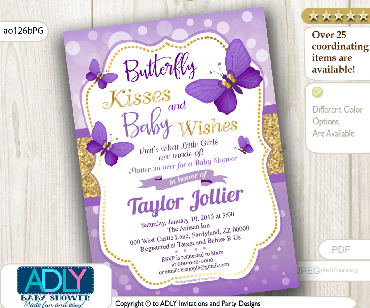 Purple And Gold Butterfly Invitation Bokah Glitter Adly