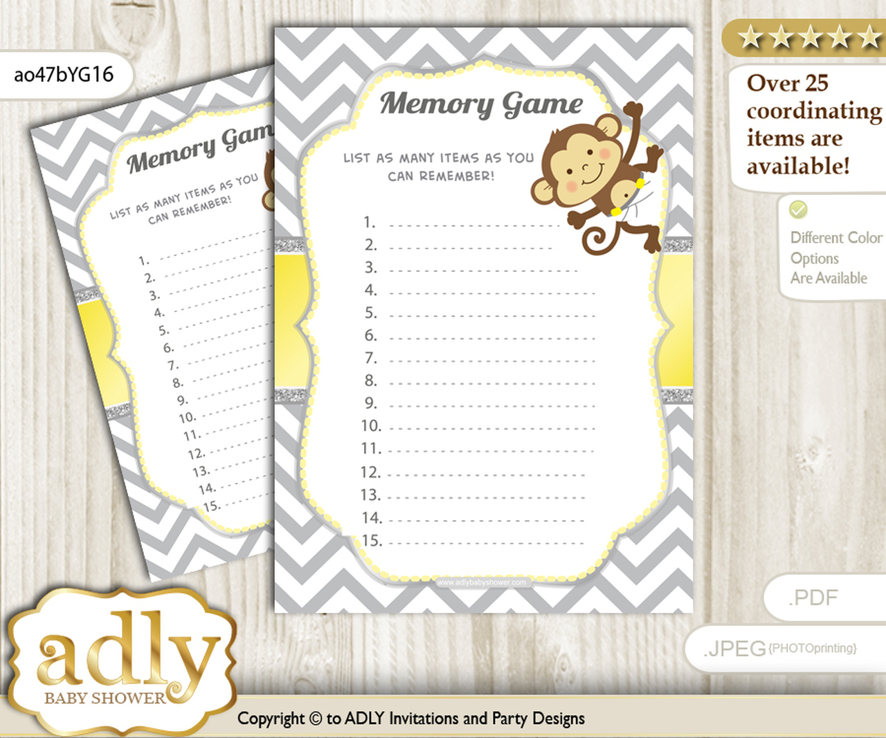 graphic about Baby Shower Printable called Boy Female Monkey Memory Recreation Card for Boy or girl Shower, Printable Bet Card, Yellow Gray, Chevron