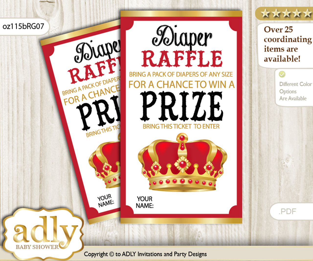 photo about Printable Tickets titled Royal King Diaper Raffle Printable Tickets for Youngster Shower, Crimson Gold, Crown