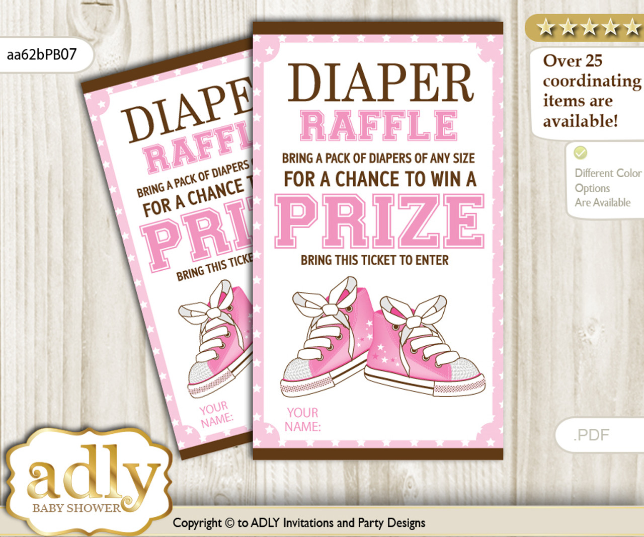 graphic about Diaper Raffle Printable named Lady Shoes Diaper Raffle Printable Tickets for Kid Shower, Purple Brown, STar
