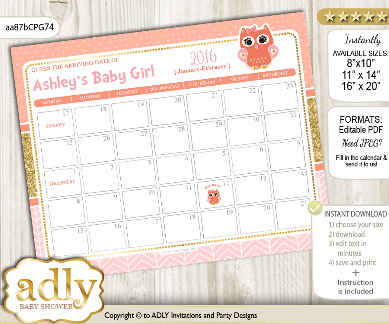 Diy Girl Owl Baby Due Date Calendar Guess Baby Arrival Date Game Nn