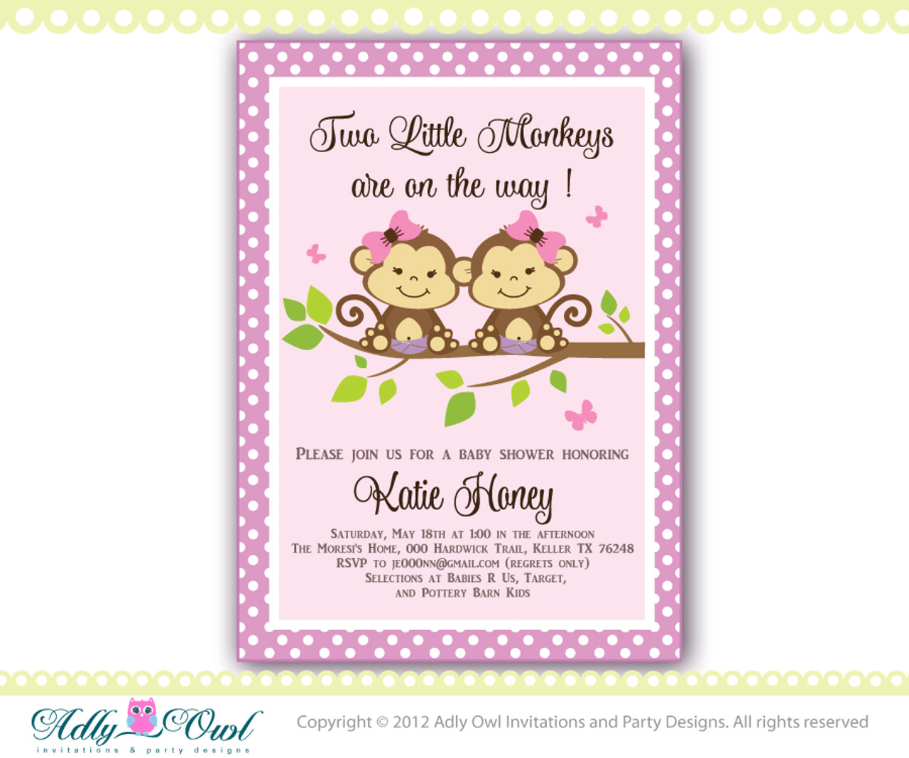 Lilac Brown Green Twin Monkeys Baby Shower Invitation With 2 Girl