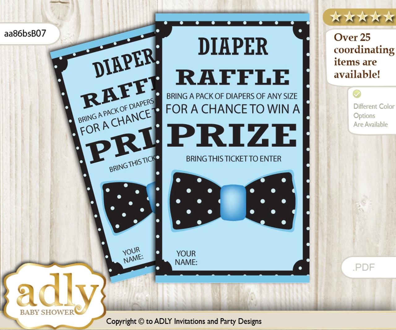 boy bow tie diaper raffle tickets printable for baby boy shower diy
