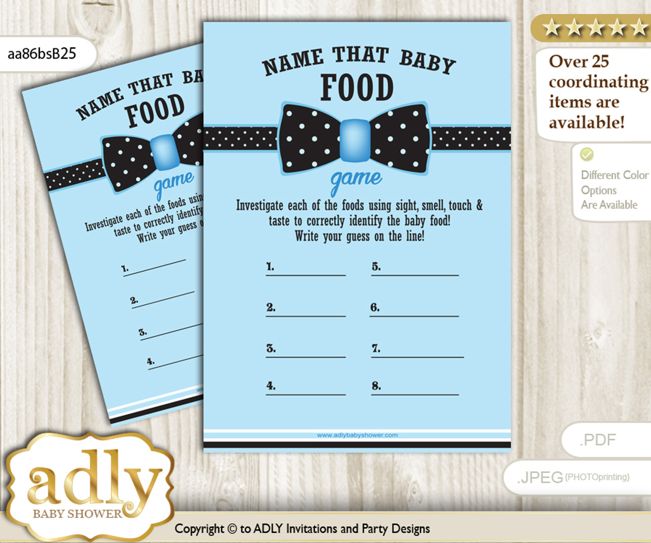 photograph about Guess the Baby Food Game Printable named Boy Bow tie Standing That Food items, Child Food items wager Recreation Printable Card for Youngster Bow tie Shower Do it yourself Blue Black Dots-aa86bsB25