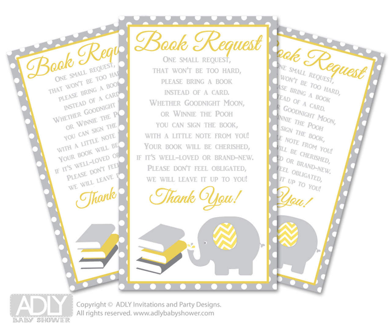 Request A Book Instead Of Card For Neutral Elephant Baby Shower Or Birthday Printable DIY Tickets Chevron Yellow Grey