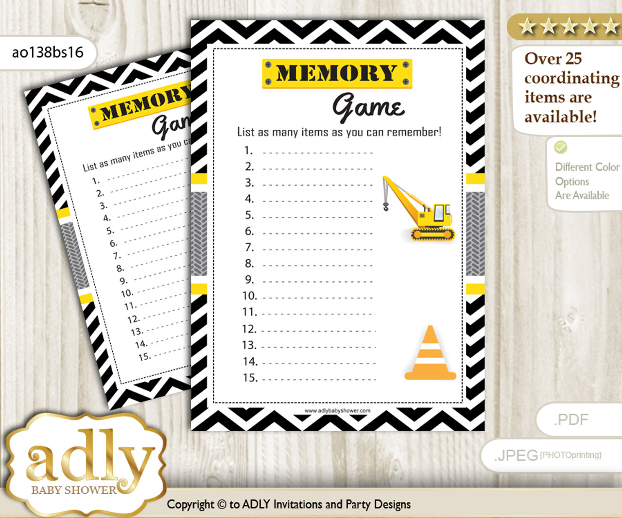 photo relating to Guess Who Cards Printable titled Truck Composition Memory Activity Card for Kid Shower, Printable Bet Card, Yellow Black, Chevron
