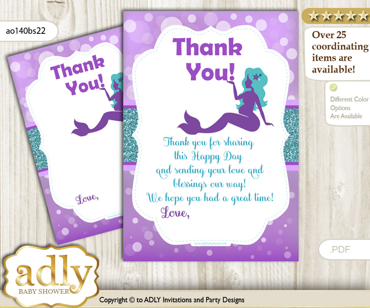 Sea Mermaid Thank You Cards For A Baby Sea Shower Or Birthday Diy