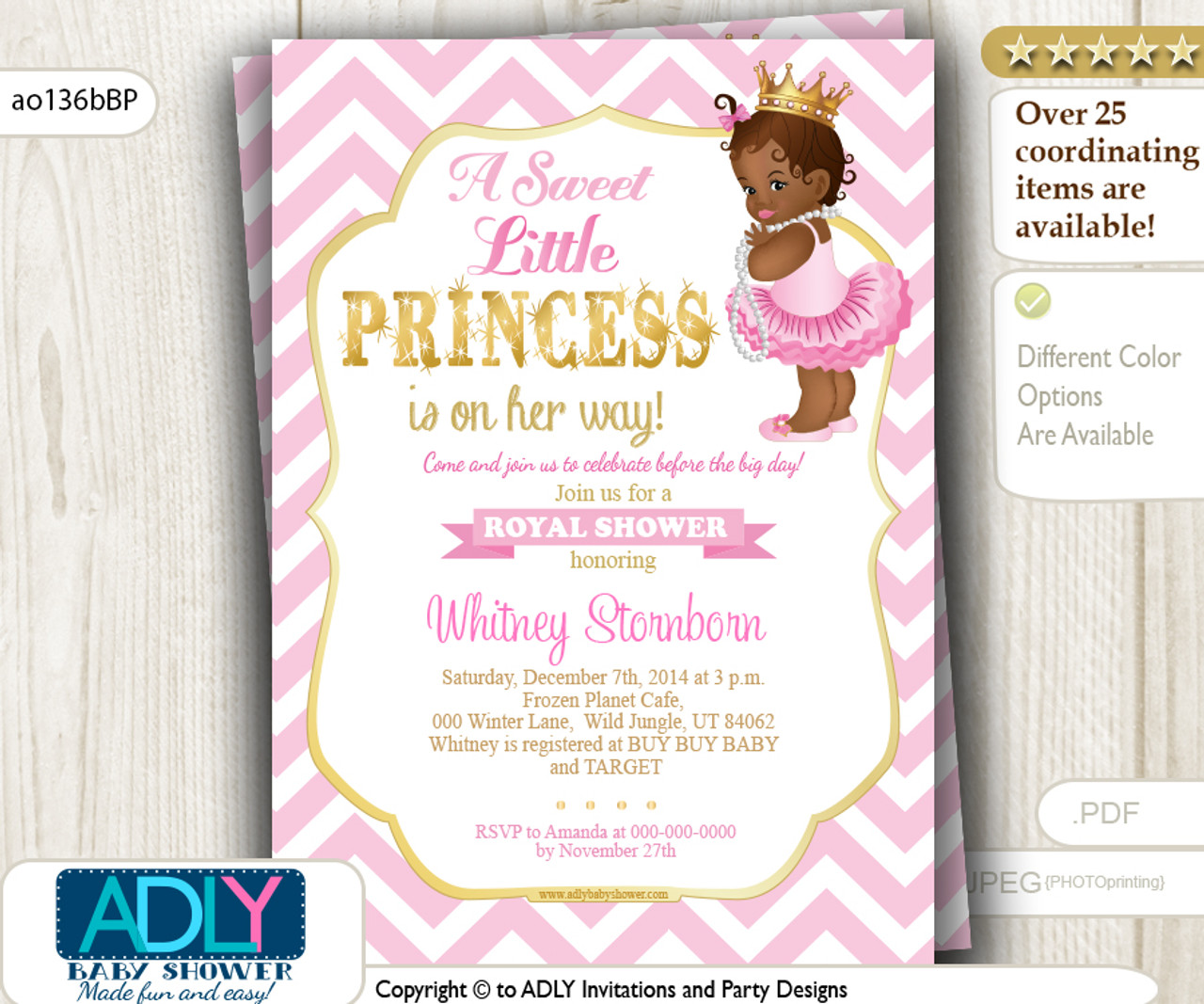 3d5bdc41d Pink, Gold African Princess with Tutu, Crown and Pearls Shower Invitation