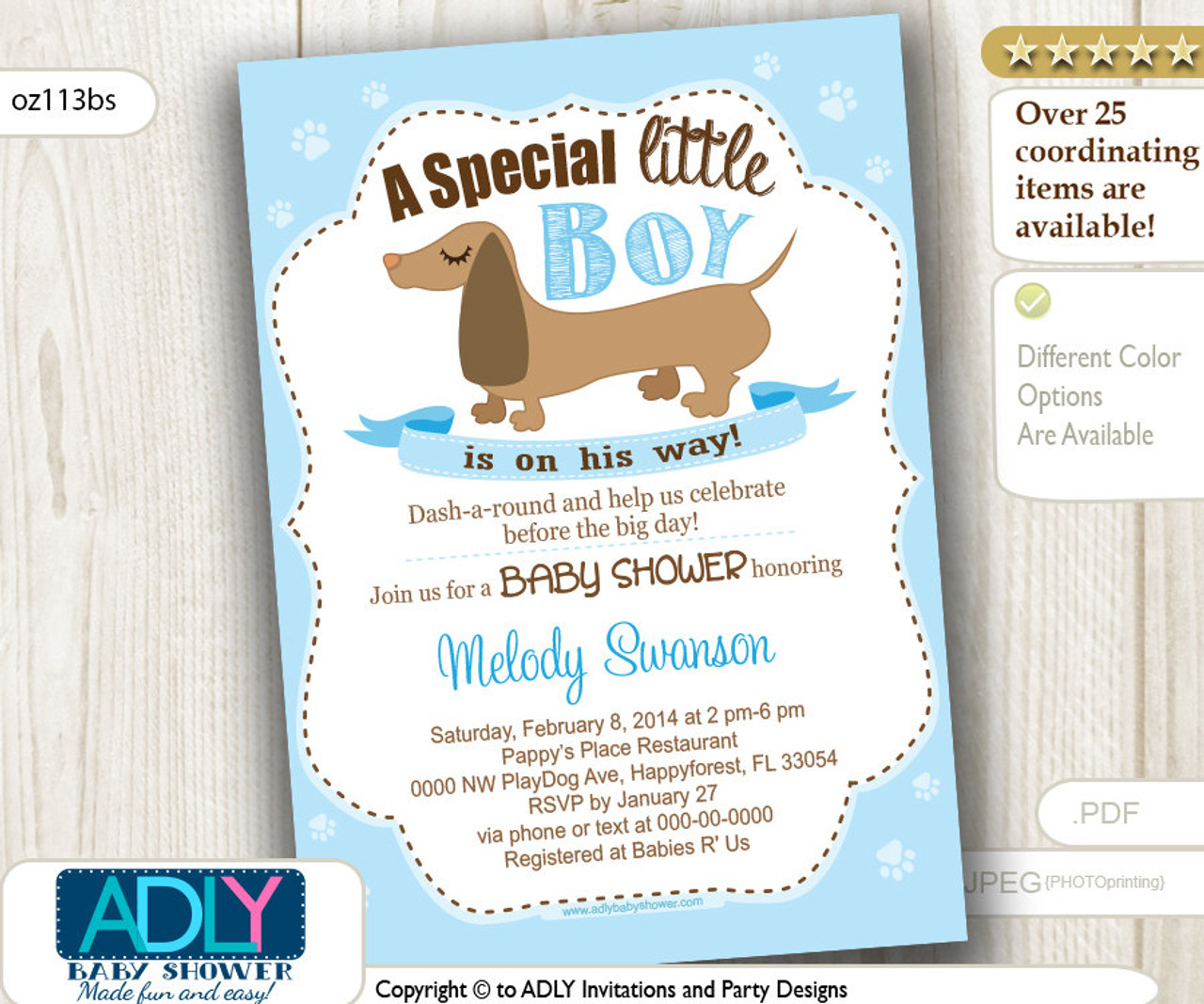graphic regarding Baby Shower Invitation Printable named Boy Sausage Pet Little one Shower Invitation, Printable Dachshund Little one Shower Card for a little one shower.Youngster Blue, do it yourself,brown pet dog-oz113bs