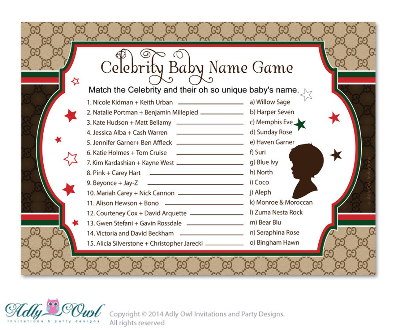 graphic about Celebrity Baby Name Game Printable named Gucci Boy Design Celeb Popularity Recreation, Wager Movie star Little one Track record match, renowned boy or girl names Design and style Shower Do it yourself Brown Crimson Gucci