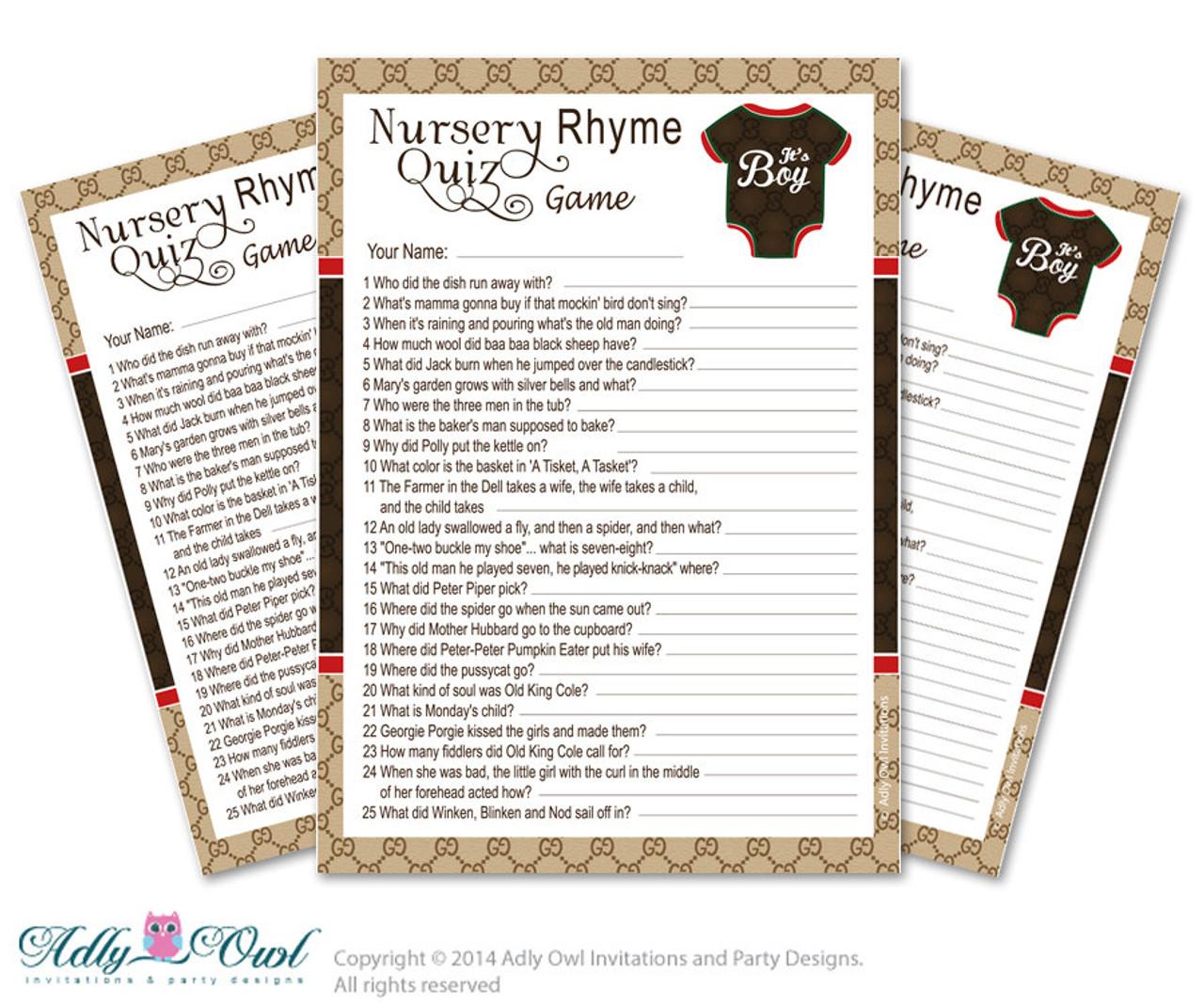 Gucci Boy Fashion Nursery Rhyme Game, Find Rhyme Game Quiz for Baby shower  Fashion Shower DIY Brown Red