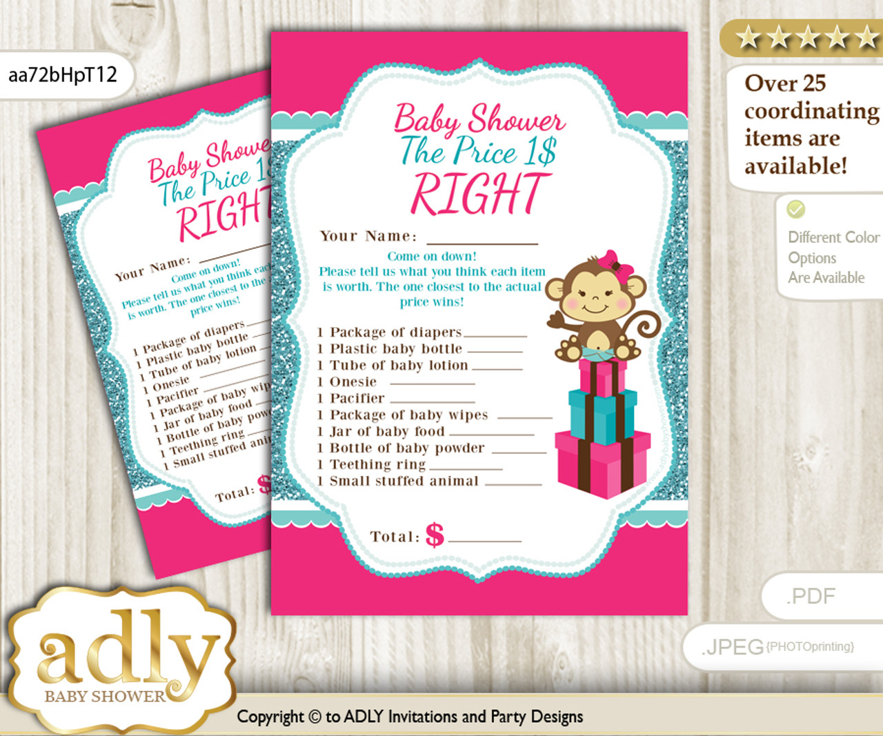 photograph relating to Baby Shower Price is Right Printable identify Printable Lady Monkey Selling price is Straight Sport Card for Boy or girl Monkey Shower, Very hot Purple, Glitter