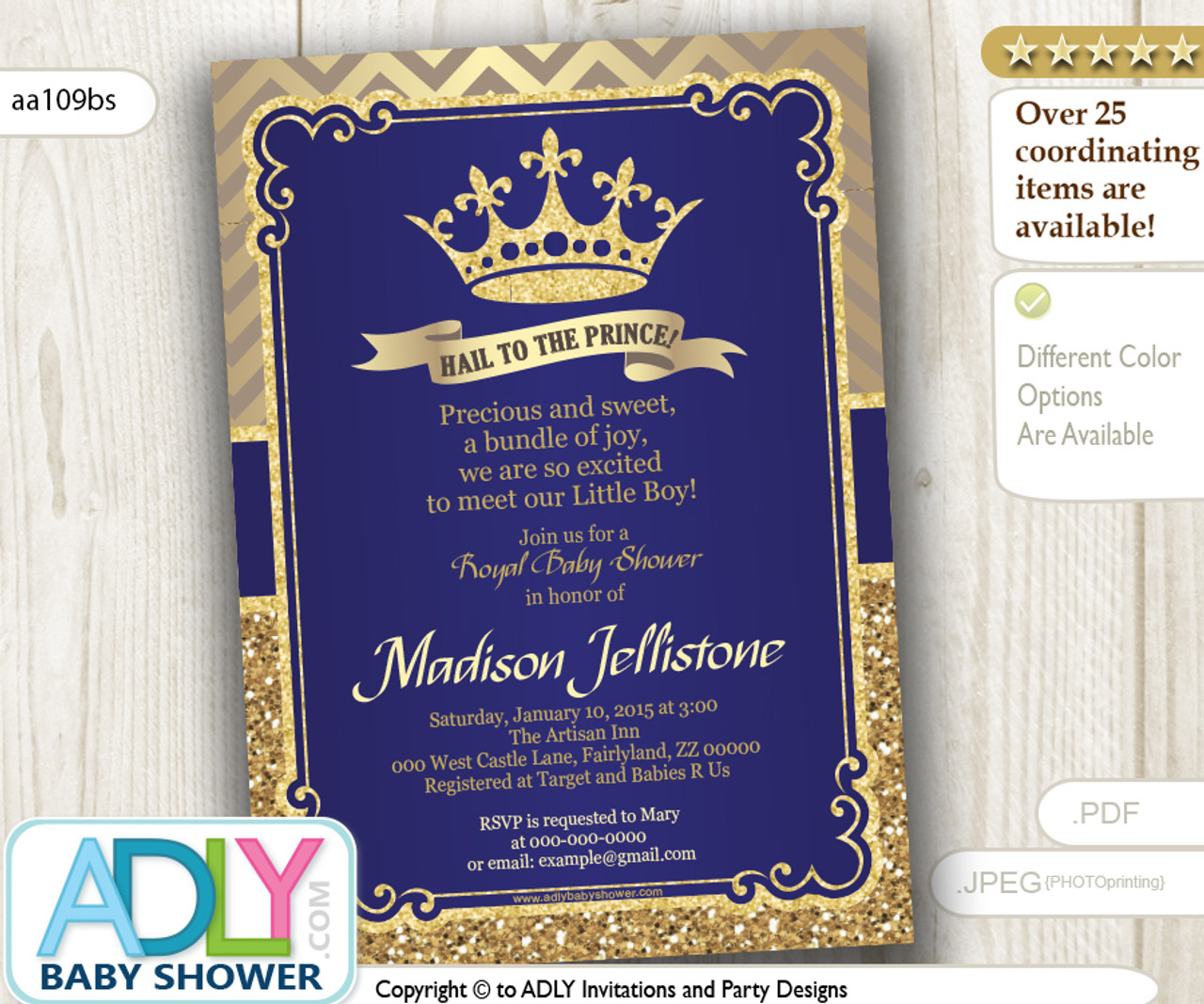 Dark Blue Gold Royal Prince Baby Shower Digital Invitation With