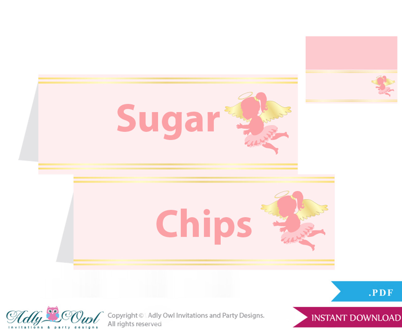 image about Gold Printable Labels known as Printable Minor Angel Buffet Tags or Foodstuff Tent Labels for a Kid Shower or Birthday , Gold, Purple