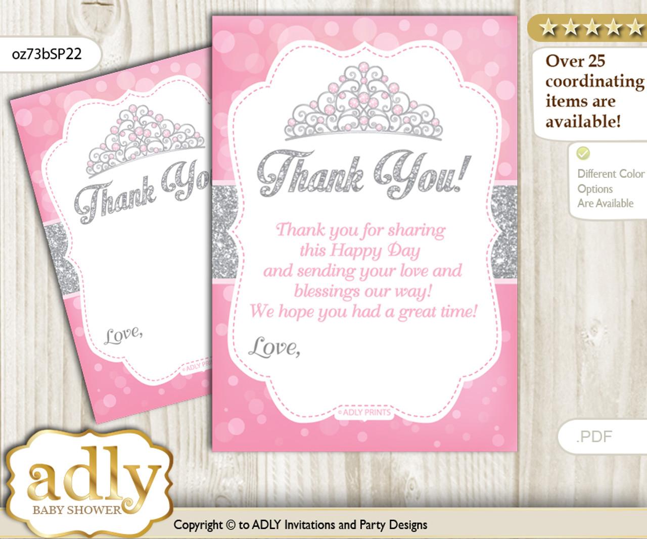 Princess Tiara Thank You Cards For A Baby Princess Shower Or
