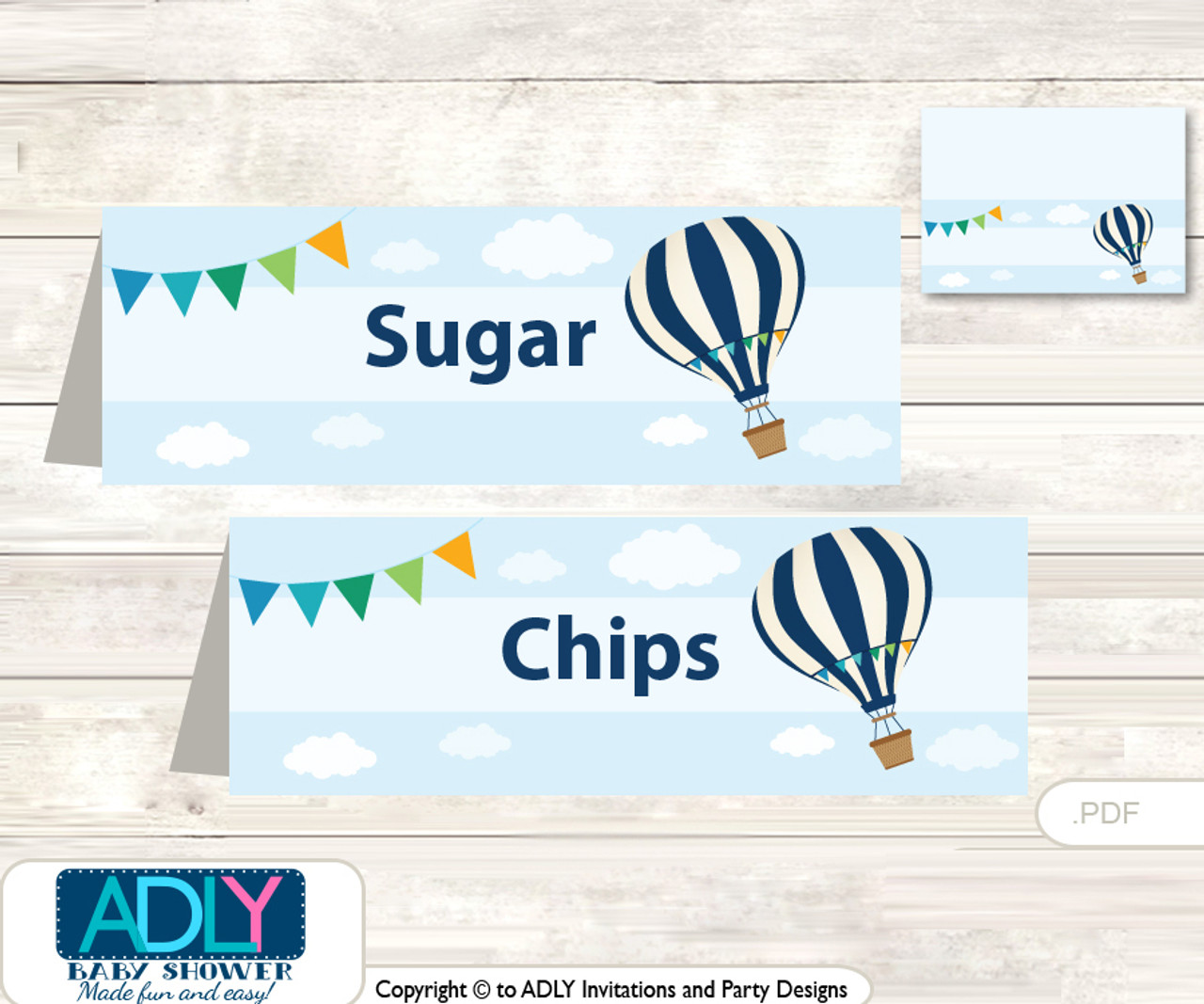 picture relating to Printable Hot Air Balloon called Printable Warm Air Balloon Buffet Tags or Food stuff Tent Labels for a Kid Shower or Birthday , blue, Up Absent