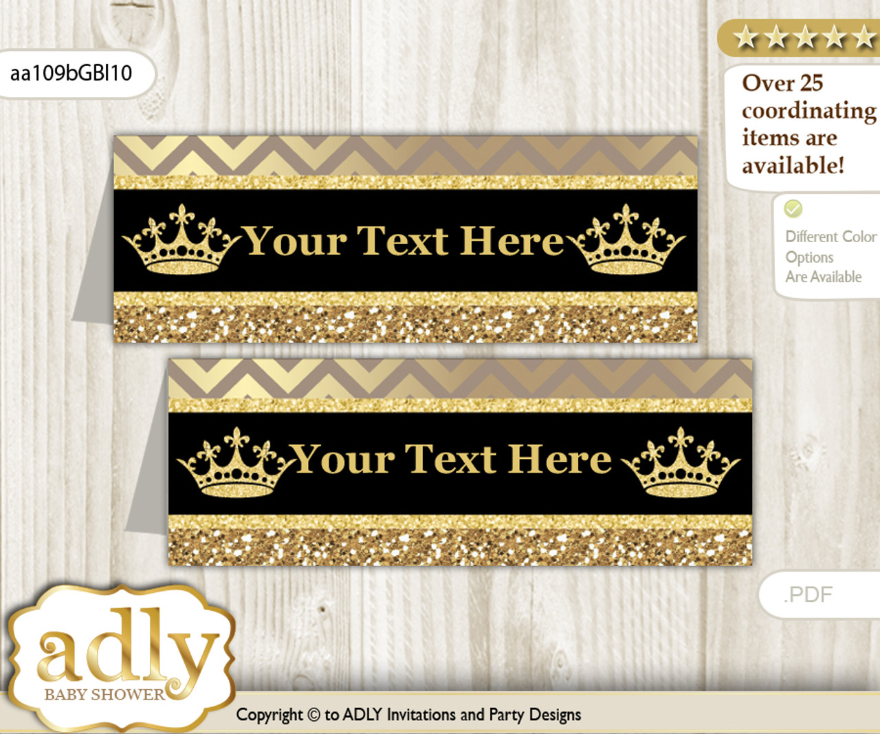 image about Gold Printable Labels named Do-it-yourself Words Editable Printable Prince Royal Buffet Tags or Food stuff Tent Labels for a Little one Shower or Birthday , Black Gold, Crown