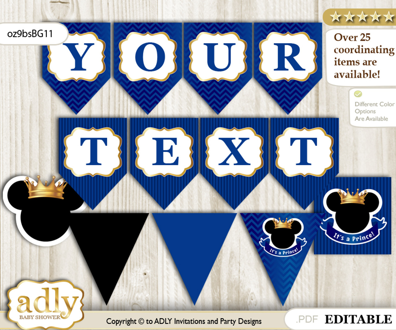 photo regarding Printable Banner named Do-it-yourself Personalizable Prince Mickey Printable Banner for Child Shower, Blue Gold, Royal n