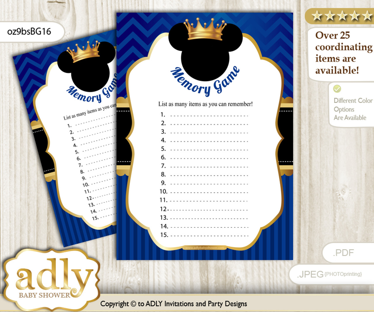Prince Mickey Memory Game Card For Baby Shower Printable Guess Card
