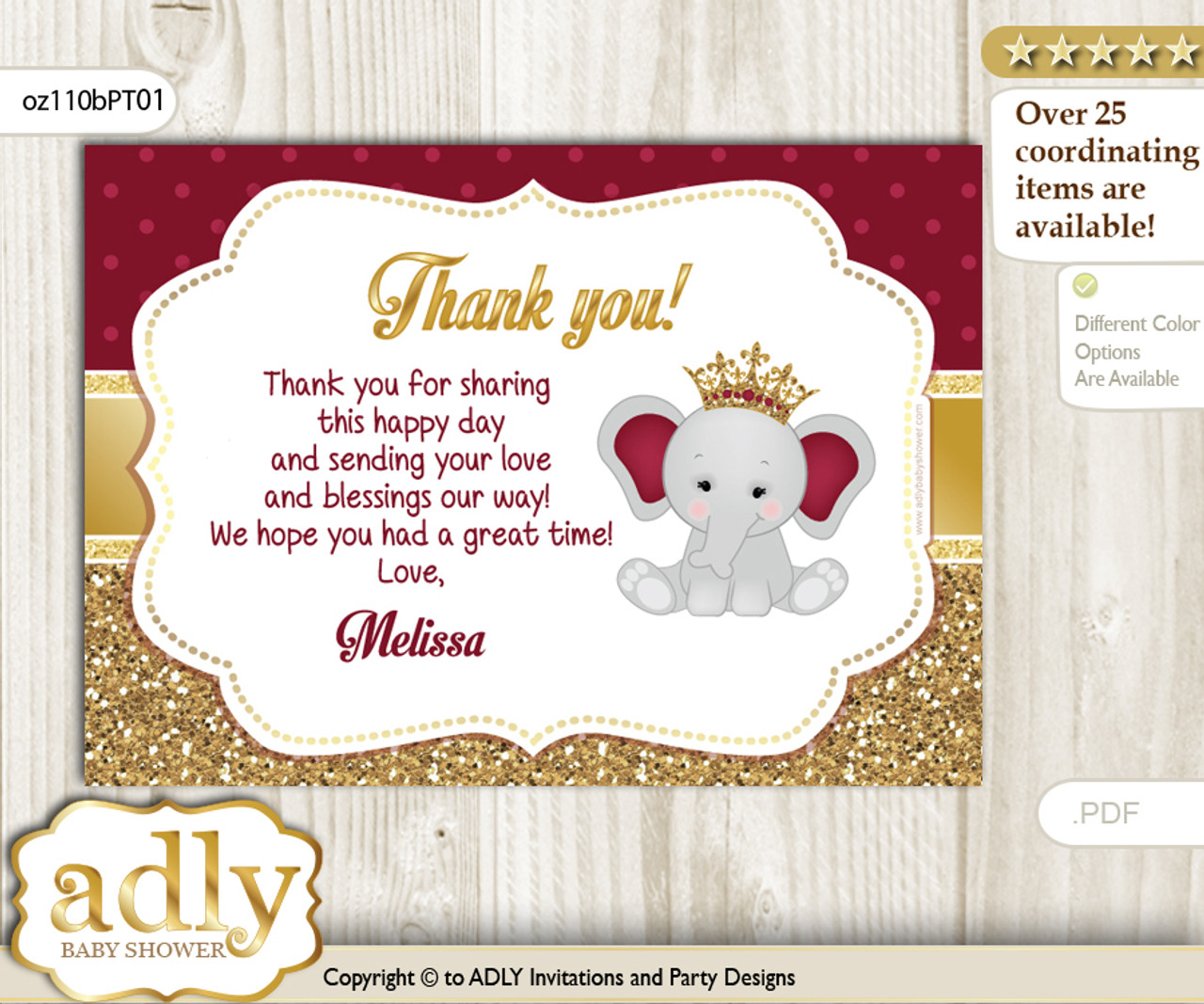 Princess Elephant Thank You Printable Card With Name Personalization For Baby Shower Or Birthday Party