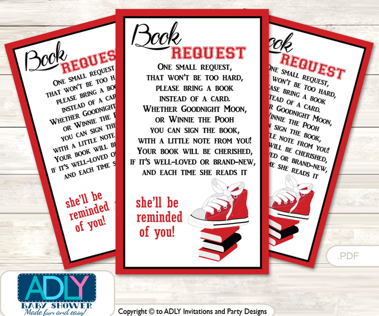 image relating to Bring a Book Instead of a Card Printable referred to as Talk to a E book As a substitute of a Card for Lady SneakersBaby Shower or Birthday, Printable Reserve Do it yourself Tickets, Video game, pink black