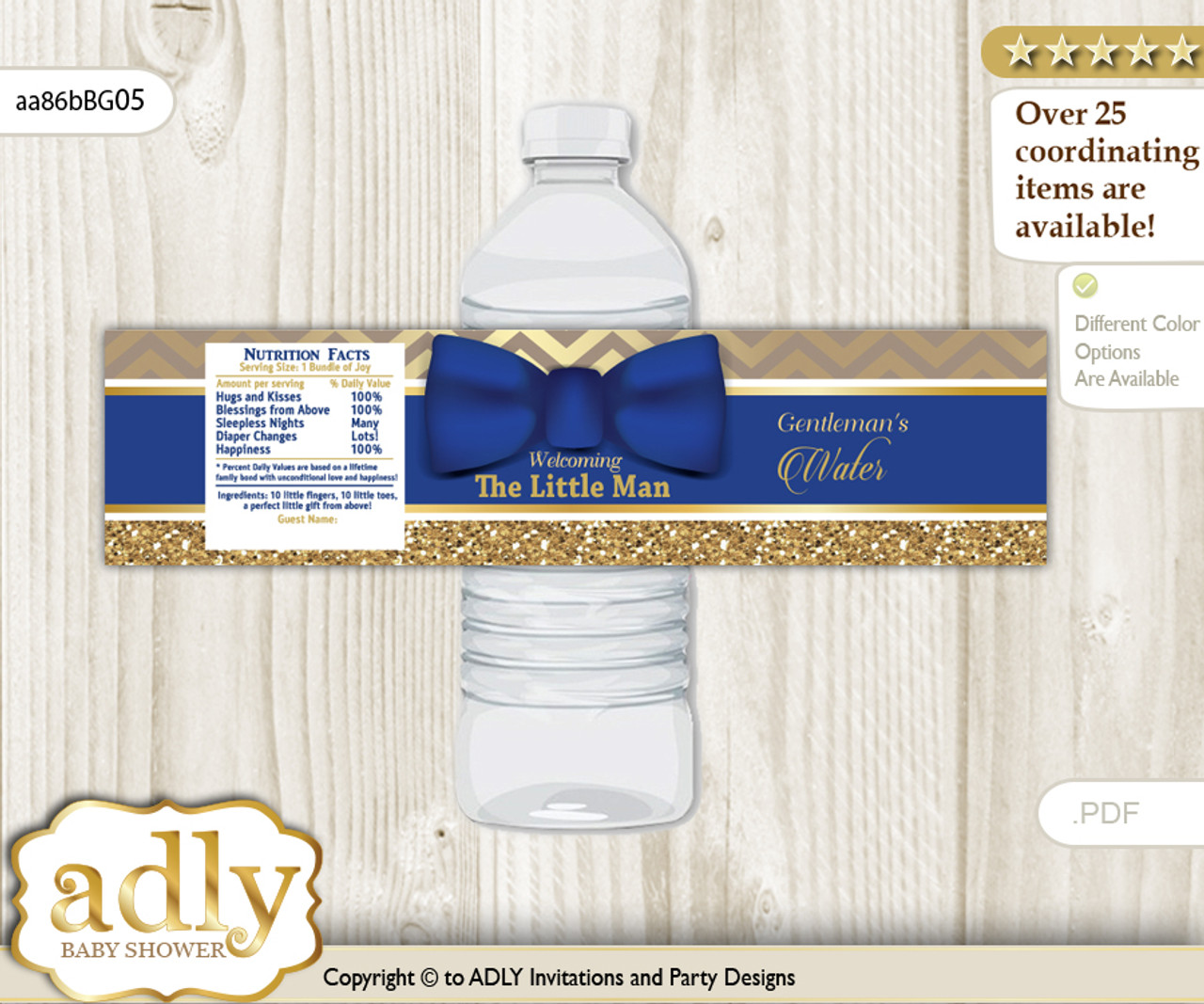 Man Bow Tie Water Bottle Wrappers, Labels for a Bow Tie Baby Shower, Gold  Blue, Chevron