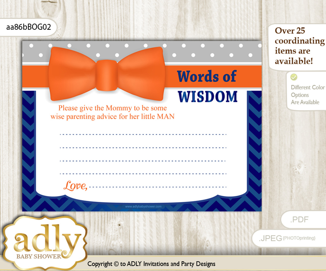picture about Printable Bow Tie called Orange Blue Boy Bow Tie Terms of Knowledge or an Information Printable Card for Youngster Shower, Gray