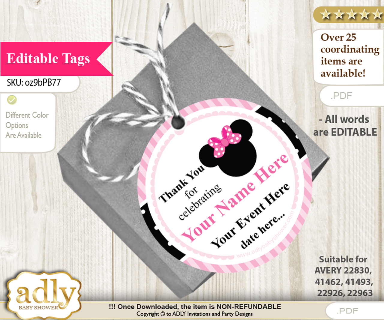 Girl Minnie Thank You Tags, Circle Favor Tags Personalizable for Shower,  Birthday