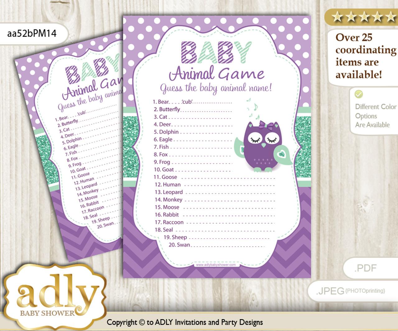 Printable Girl Owl Baby Animal Game Guess Names Of Baby Animals