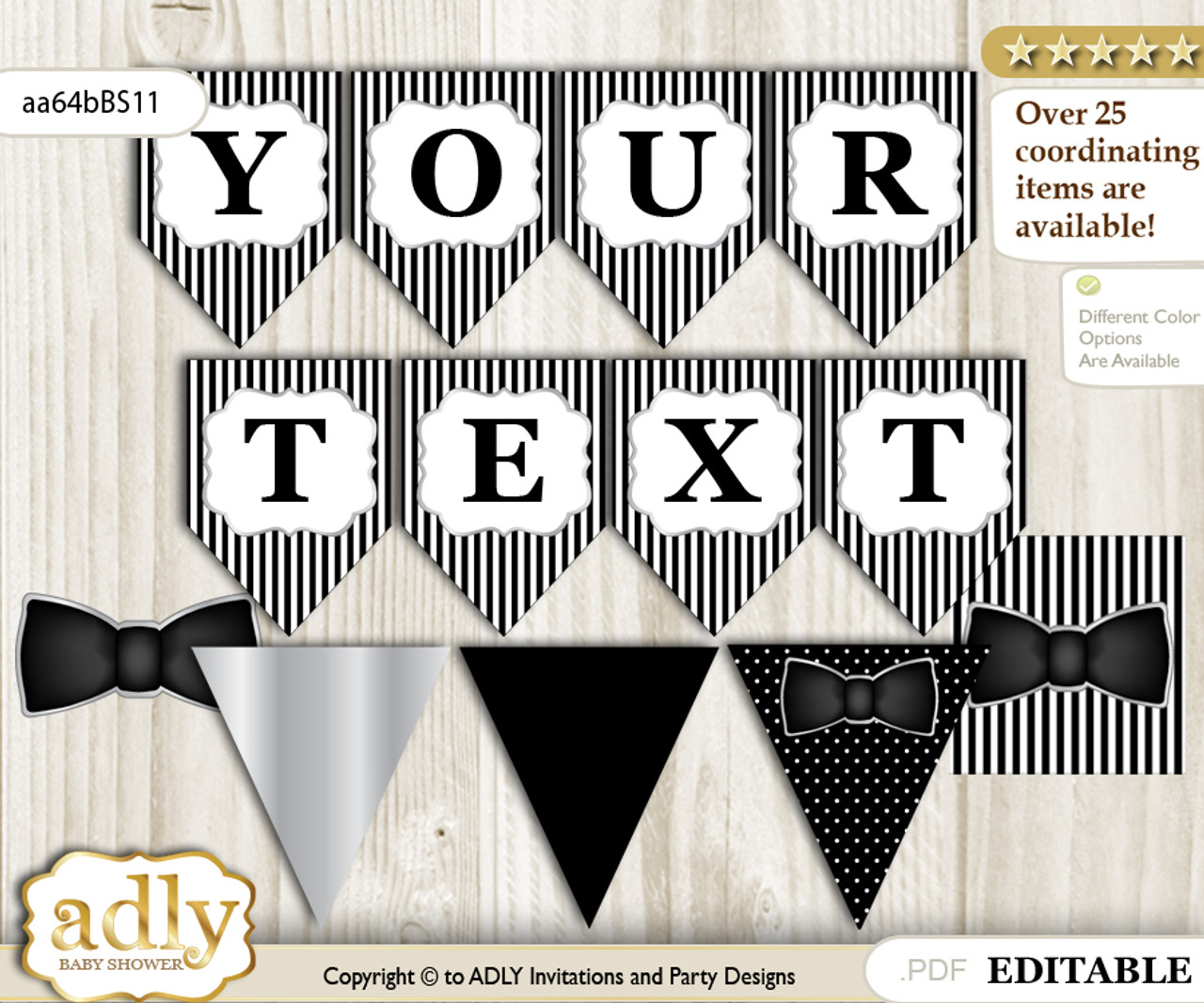 image relating to Bow Tie Printable named Do-it-yourself Personalizable Boy Bow Tie Printable Banner for Kid Shower, Black Silver, Very little Gentleman