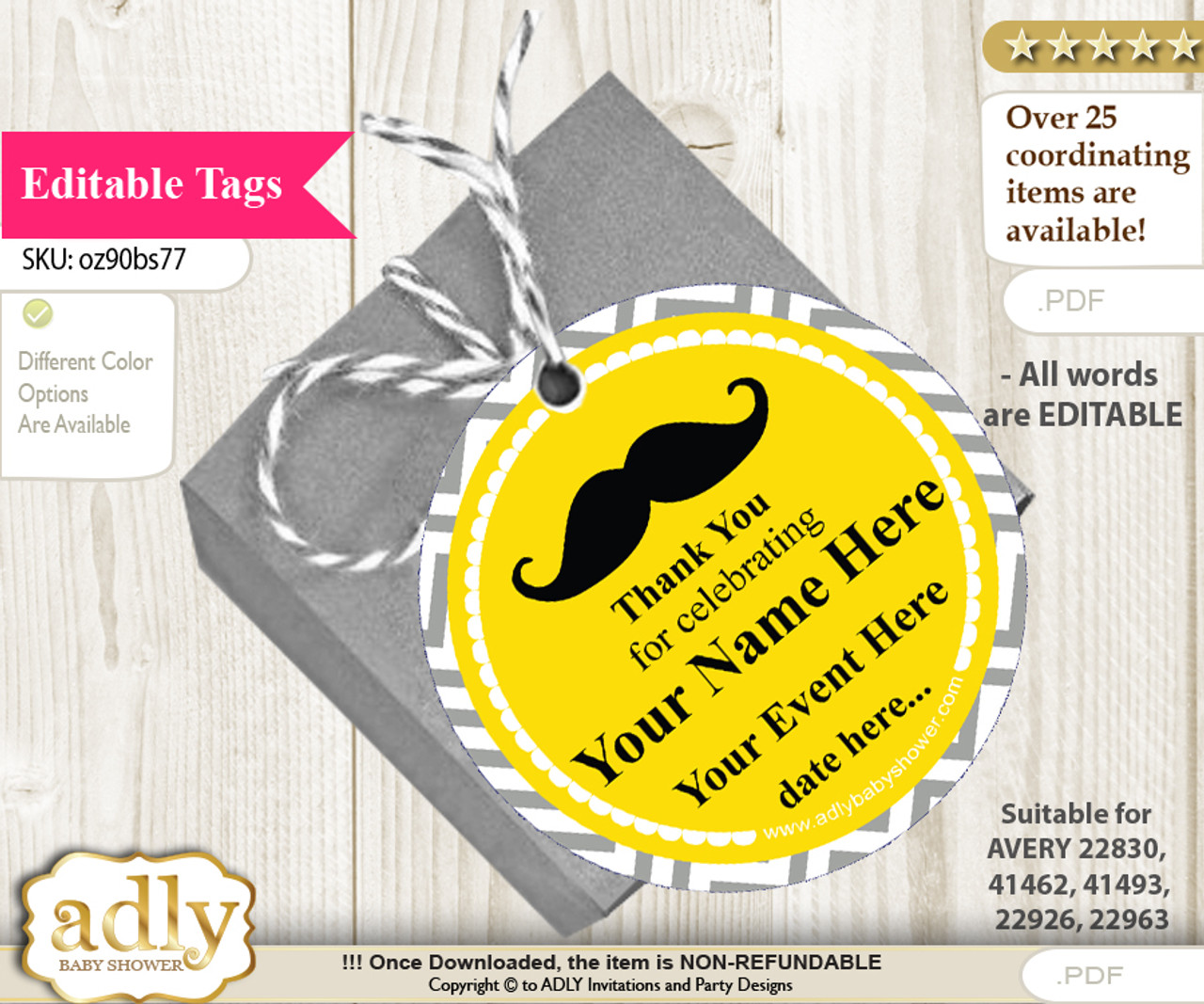 Yellow Mustache Thank You Tags, Circle Favor Tags Personalizable for  Shower, Birthday