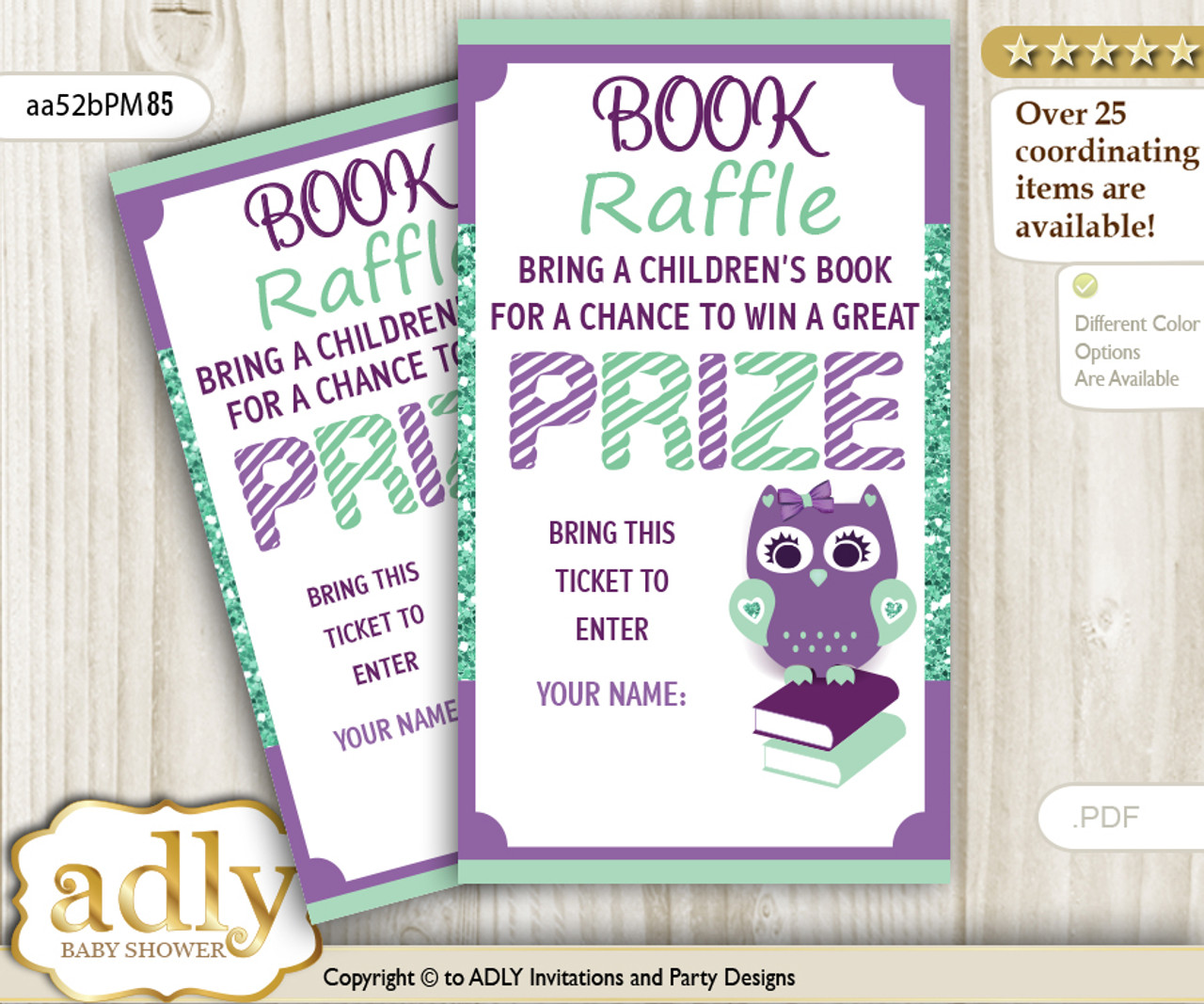 book raffle ticket with girl owl for baby shower or birthday