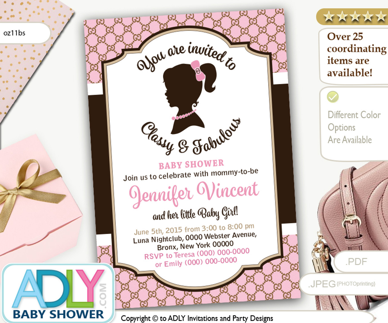 Vintage Classy And Fabulous Gucci Inspired Baby Shower Invitation Pink Brown Retro