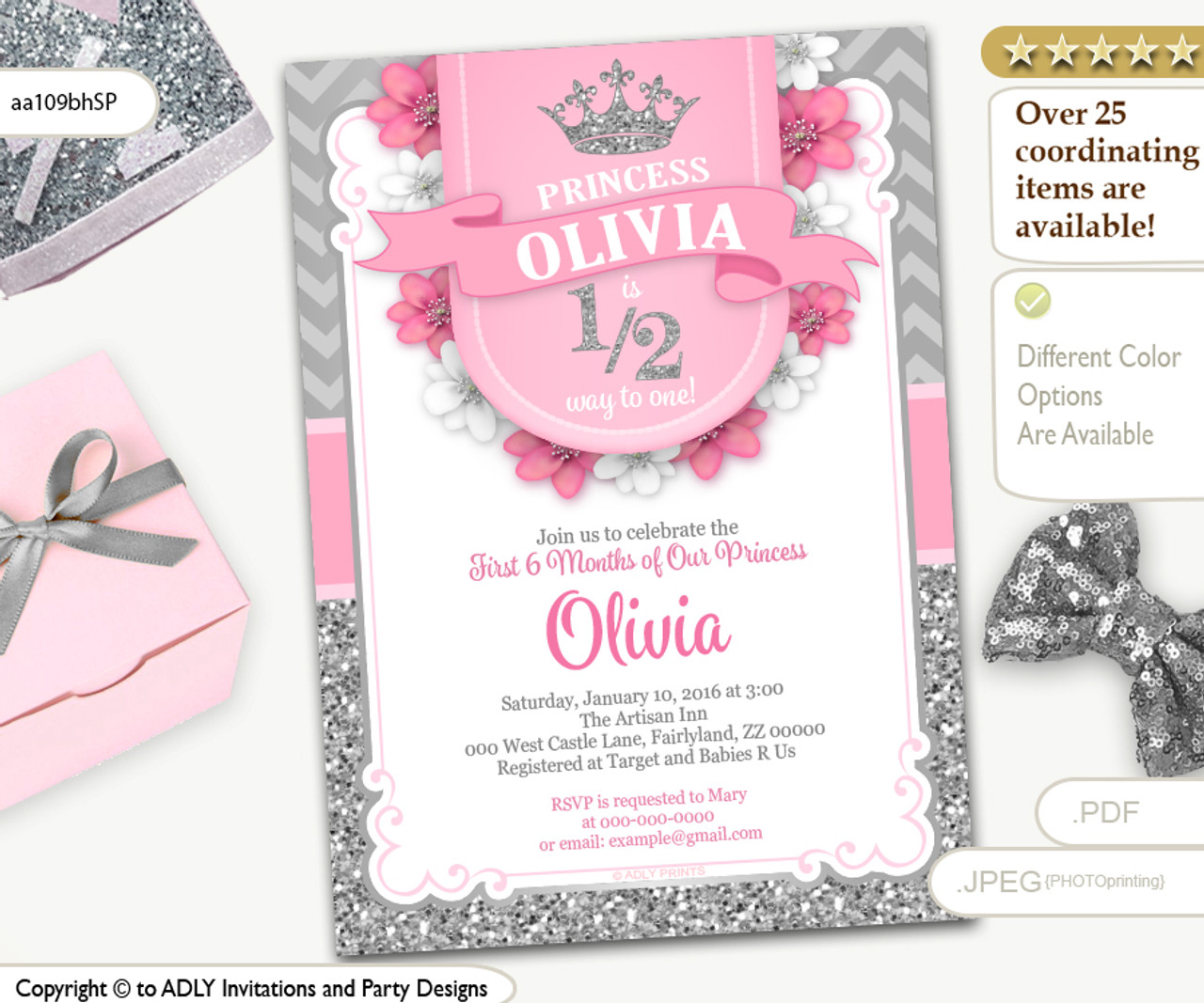 Half Way To ONE 1 2 Birthday Invitation For Little Princess In Pink And Silver Glitter