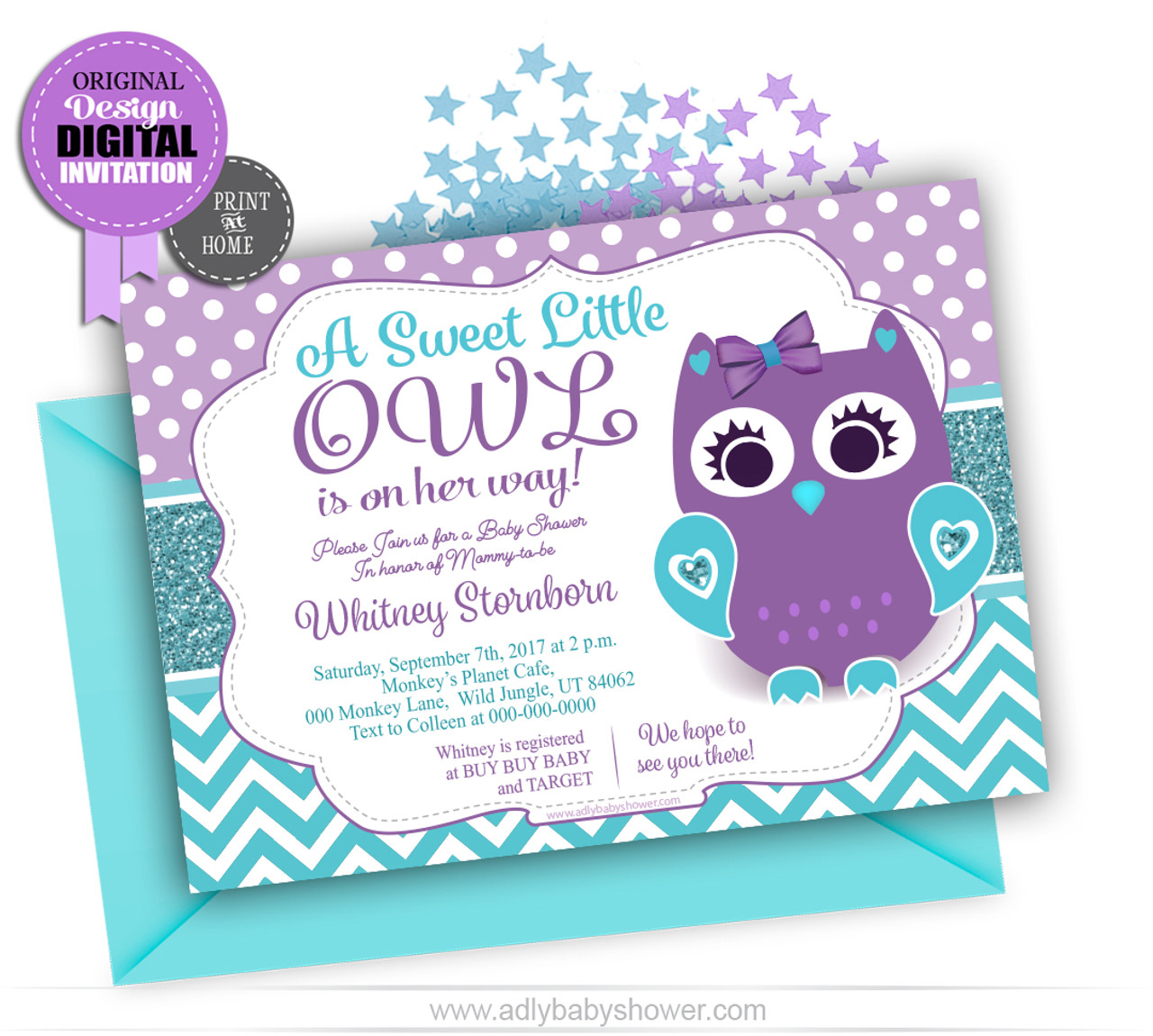 Owl Baby Shower Invitation In Purple And Teal Turquoise Theme
