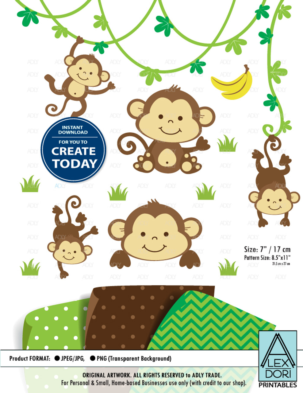 Cute Monkey Monkey Boy Gender Neutral Clip Art Adly Invitations